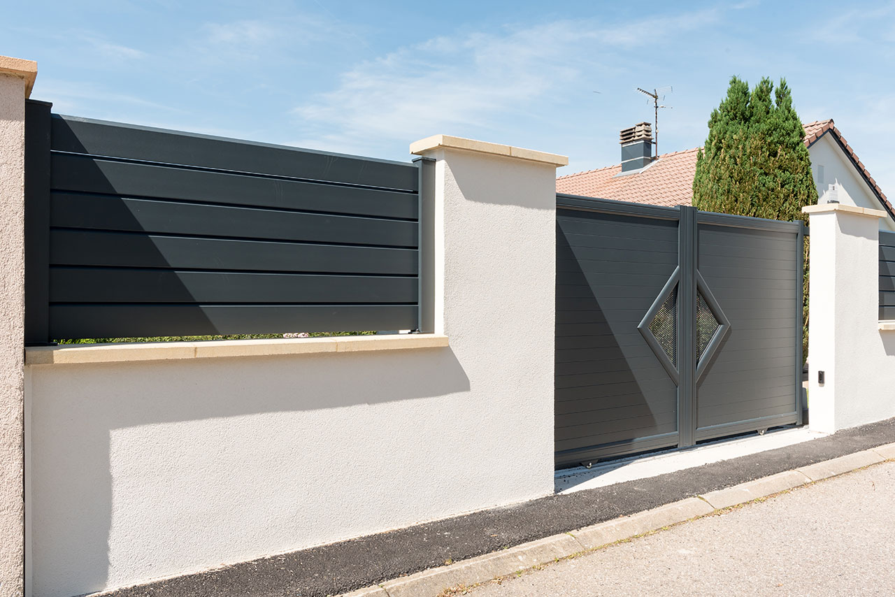 Portail aluminium epinal vittel mercier david for Portillon alu gris anthracite